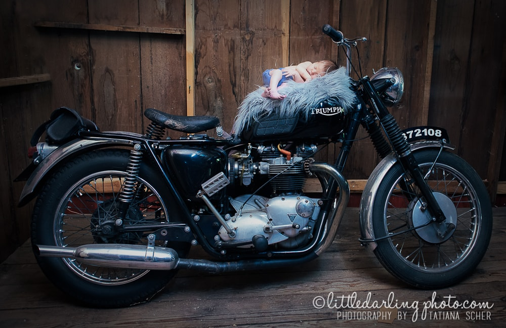 Newborn baby photo on a motorcycle. Felton, Ca