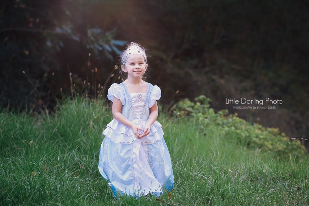 Princess toddler in the Santa Cruz redwoods